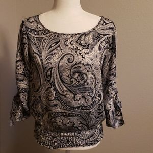 Michael Kors Navy and White Paisley Top